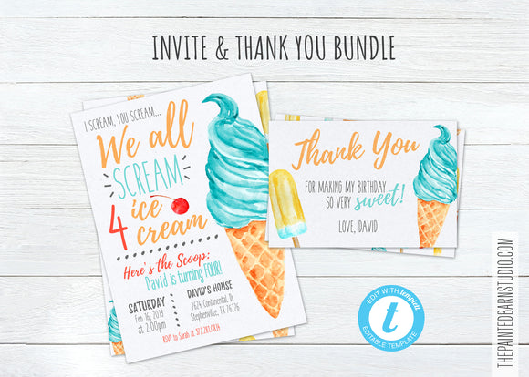 Scream 4 Ice Cream Birthday Invitation & Thank You Bundle - Boy
