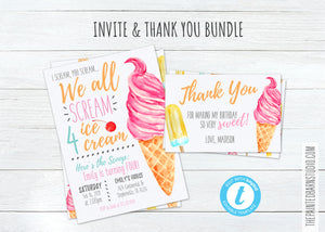 Scream 4 Ice Cream Birthday Invitation & Thank You Bundle - Girl