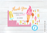 Scream 4 Ice Cream Birthday Thank You - Girl