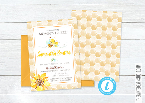 Mommy to Bee Baby Shower Invitation & Thank You Bundle