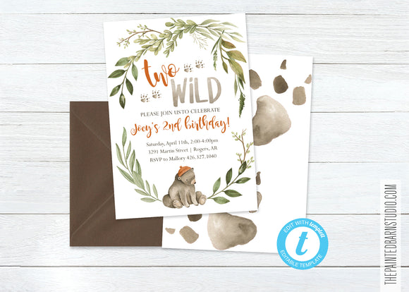Two Wild Birthday Invitation