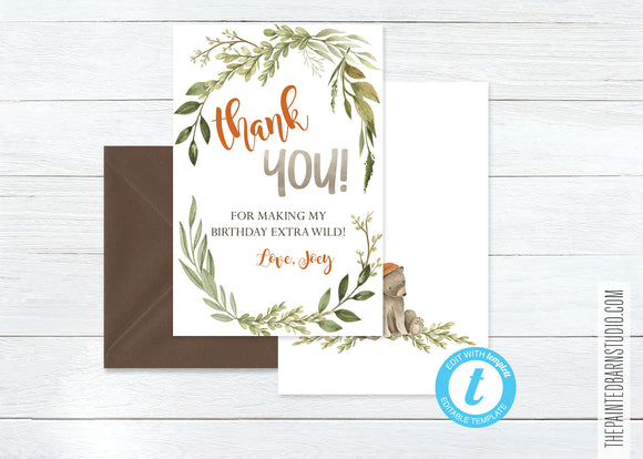 Two Wild Birthday Thank You Card