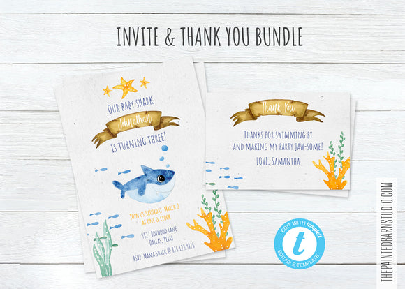 Baby Shark Birthday Invitation & Thank You Bundle - Boy