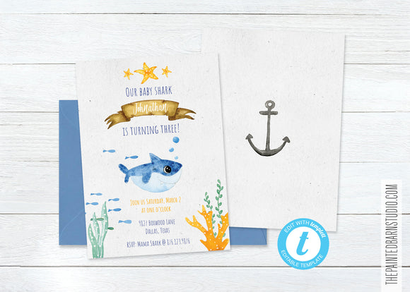 Baby Shark Birthday Invitation - Boy
