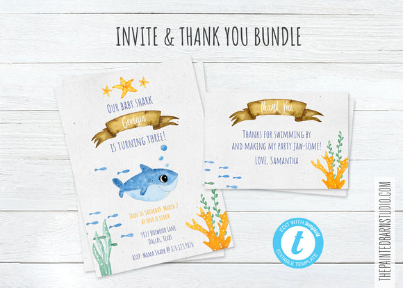 Baby Shark Birthday Invitation & Thank You Bundle - Girl