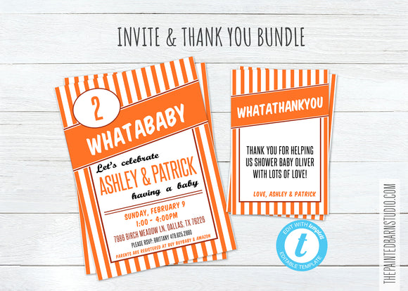 Whataburger Baby Shower Invitation & Thank You Bundle