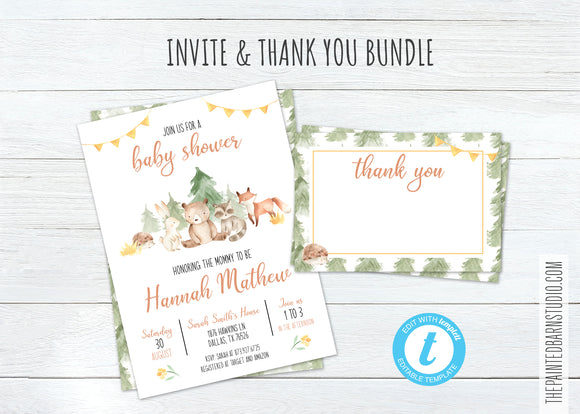 Woodland Animal Baby Shower Invitation & Thank You Bundle - Gender Neutral