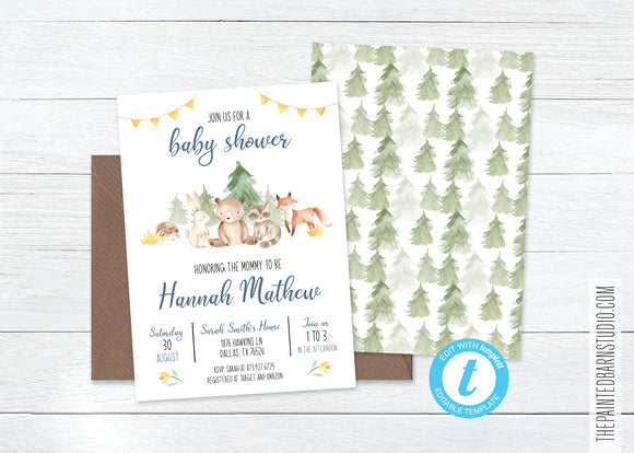 Woodland Animal Baby Shower Invitation - Boy