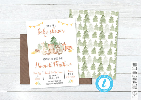 Woodland Animal Baby Shower Invitation - Gender Neutral