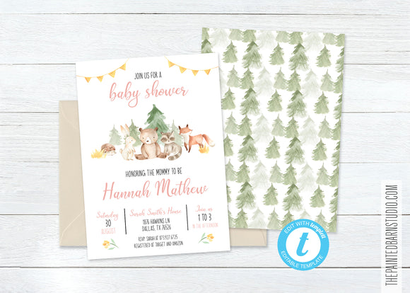 Woodland Animal Baby Shower Invitation - Girl