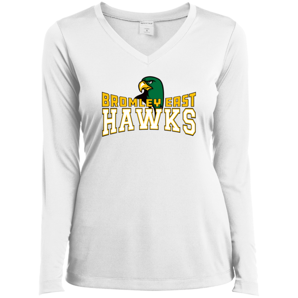 Hawk Originals (BROMLEY EAST HAWKS w/Hawk) Ladies' LS Performance V-Neck T-Shirt