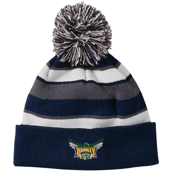 Hawk Originals (Main Logo) Holloway Striped Beanie with Pom