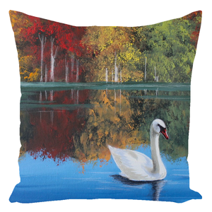 Fall At The Lake Throw Pillows