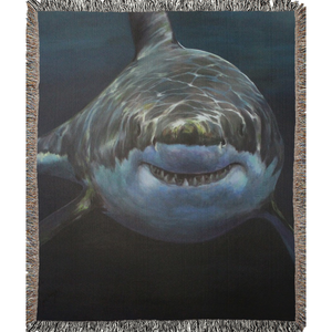 Mary Lee the Great White Shark Woven Blankets
