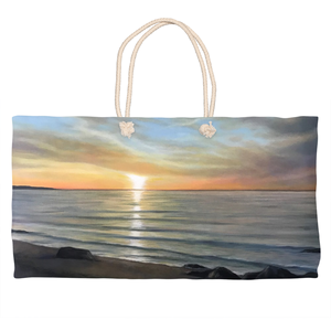 Wading River beach Sunset Weekender Totes