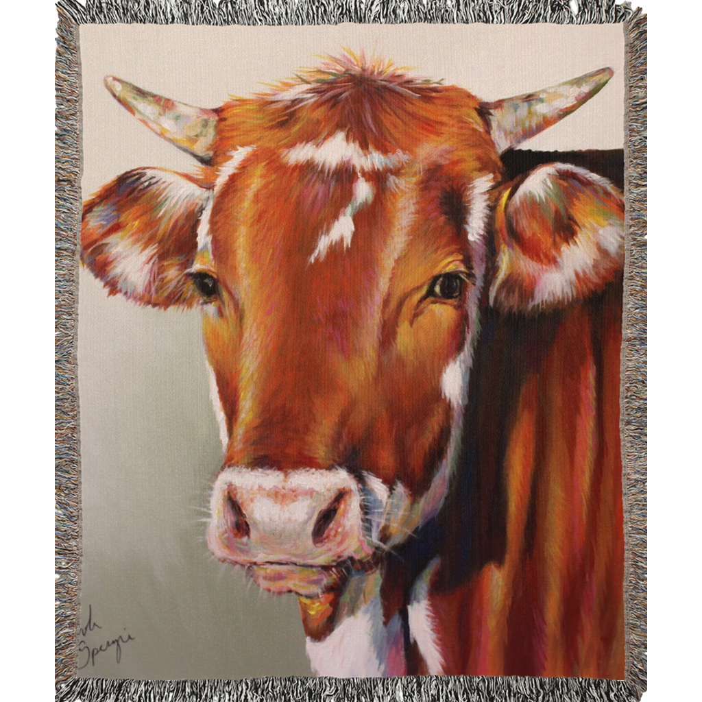 Foster The Cow Woven Blankets