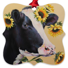 Load image into Gallery viewer, Mabel the Cow Eco Friendly Metal Ornaments