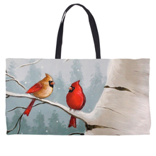 Load image into Gallery viewer, Winter Cardinals Weekender Totes