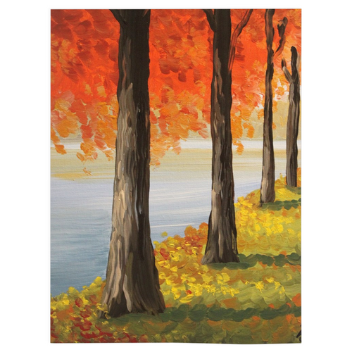 Fall Trees Fleece Blankets