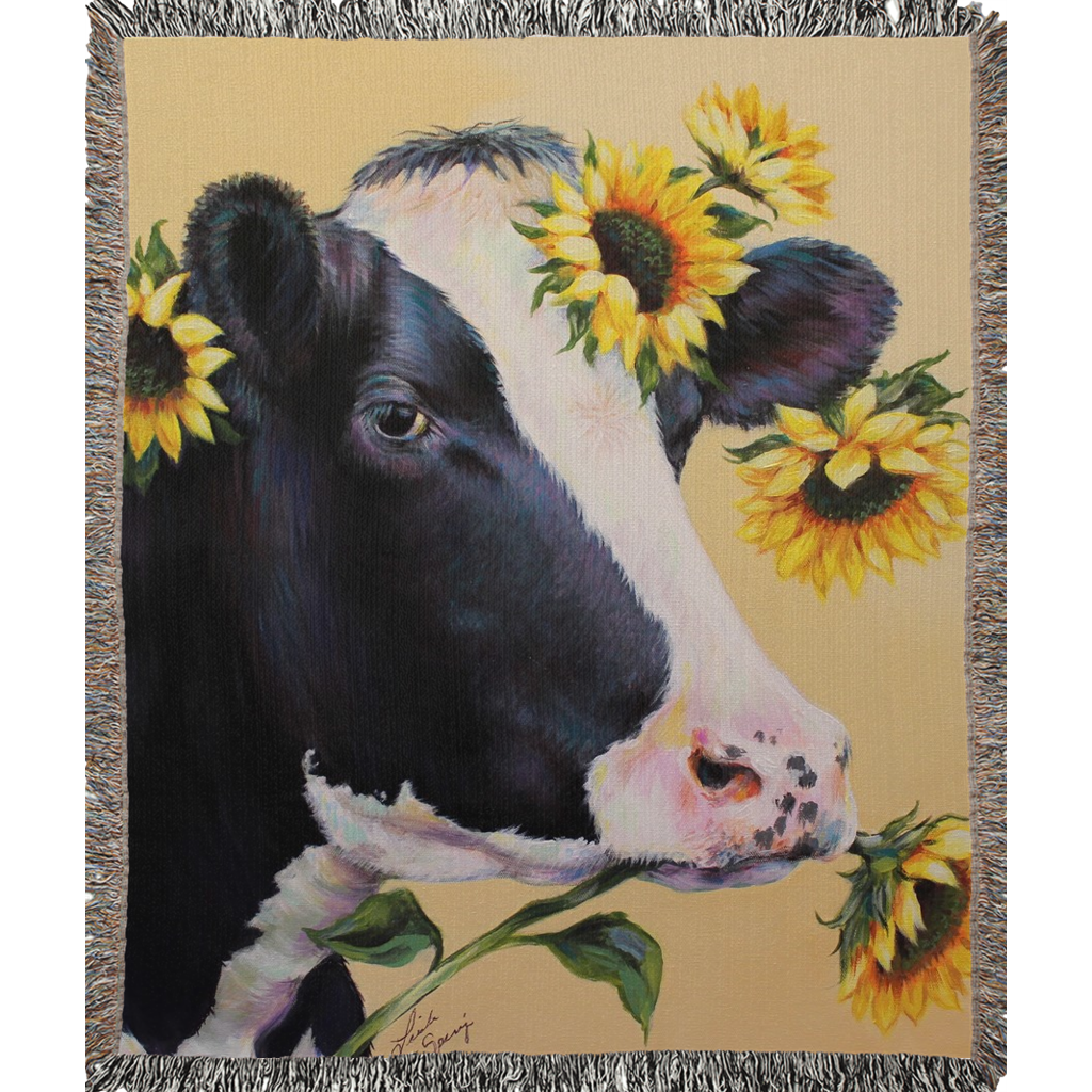 Mabel the Cow Woven Blankets