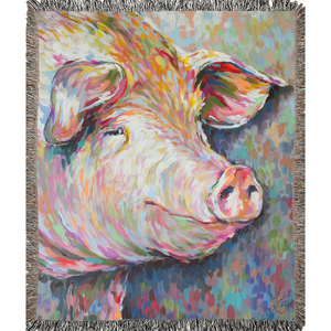 Kevin the Modern Pig Woven Blankets
