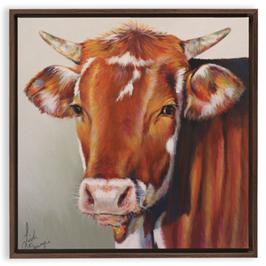 "Foster the Cow Walnut Framed Canvas Wrap 20"" by 20"""