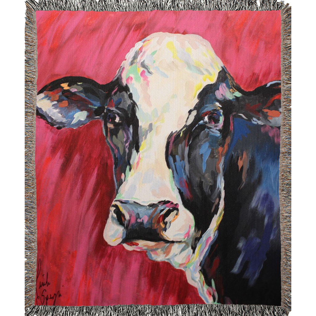 Colorful Cow Woven Blankets
