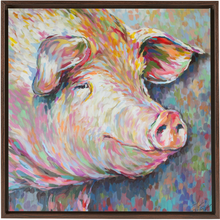 Load image into Gallery viewer, Kevin the Modern Pig Walnut Framed Canvas Wraps
