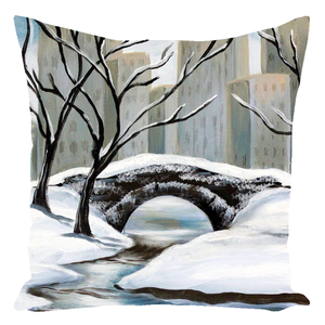 Winter In Central Park Throw Pillows