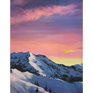 Pink Mountain Sky Fleece Blankets