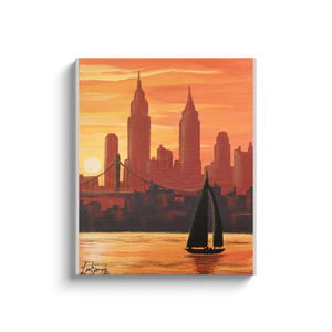 New York Sunset Canvas Wraps