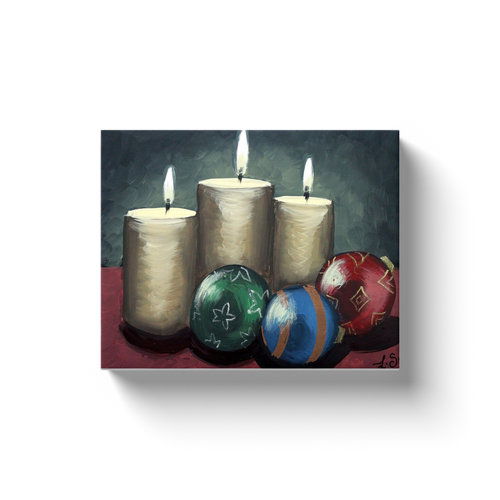 Candles and Ornaments Canvas Wraps