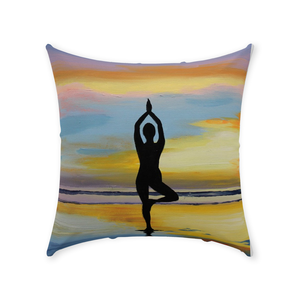 Yoga Sunset Throw Pillows