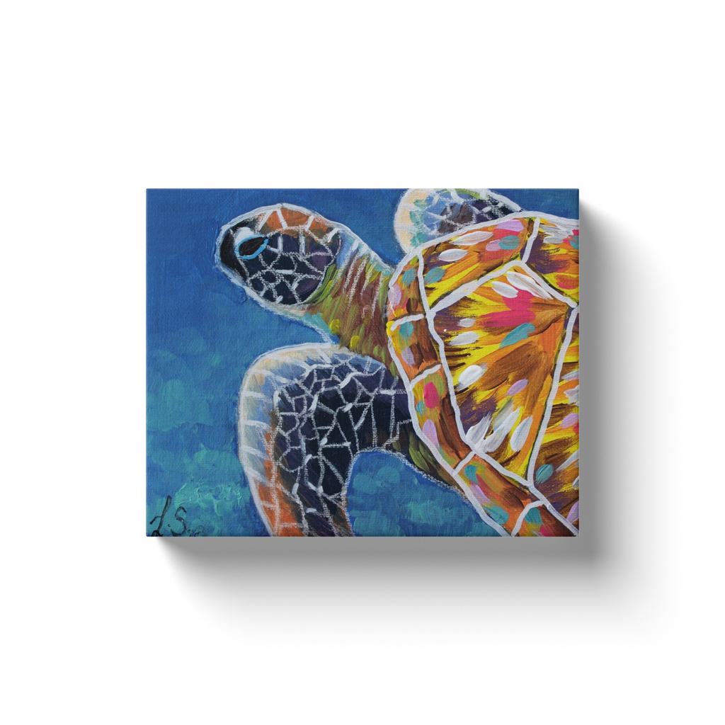 Modern Sea Turtle Canvas Wraps