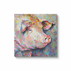 Kevin the Modern Pig Canvas Wraps
