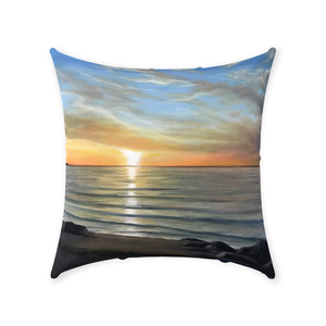 Wading River Sunset Beach Throw Pillows