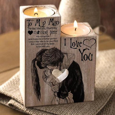 Special Edition To My Man Candle Holder by OUMNIA™ - Hug Lovers