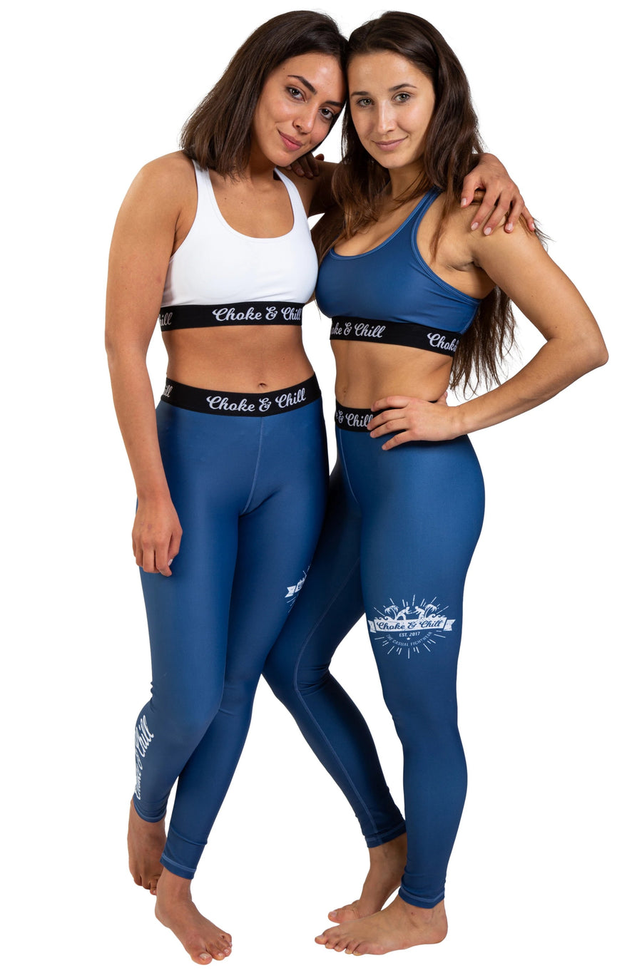 choke&chill Sports bra blue white matching spats leggins fightwear training athlete fighter Streetwear BJJ No-Gi Grappling Brazilian Jiu Jitsu MMA Kampfsport Martial Arts