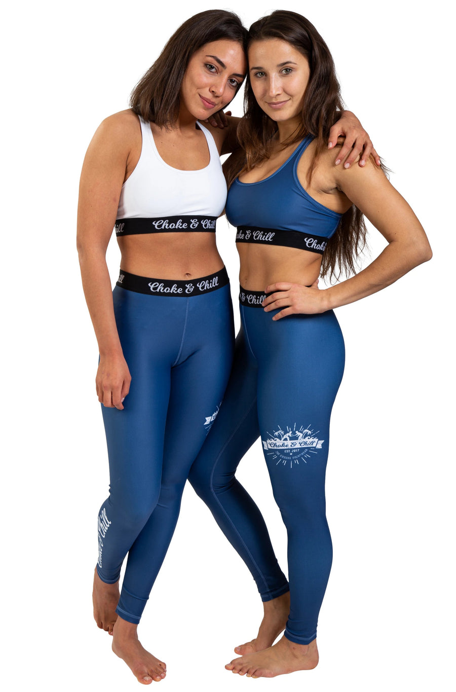 choke&chill Sport leggins spats blue matching sports bra fightwear training female athlete fighter  BJJ No-Gi Grappling Brazilian Jiu Jitsu MMA Kampfsport Martial Arts