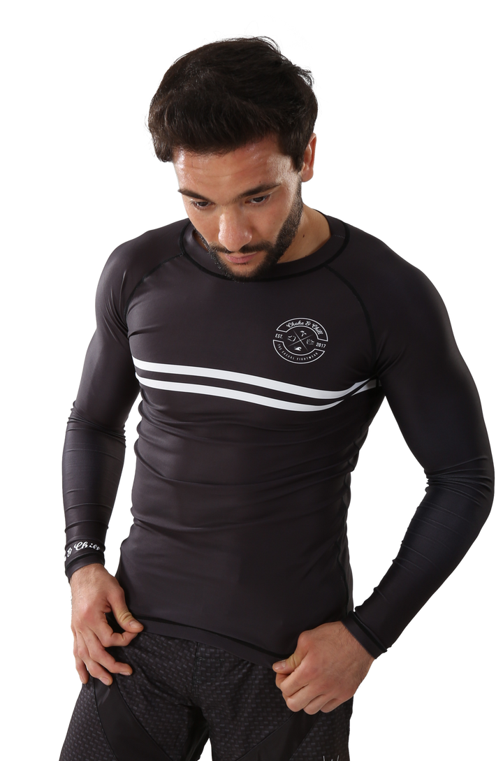 Rash guard long sleeve bjj no gi grappling brazilian jiu jitsu mma luta livre stripe black white  choke and chill