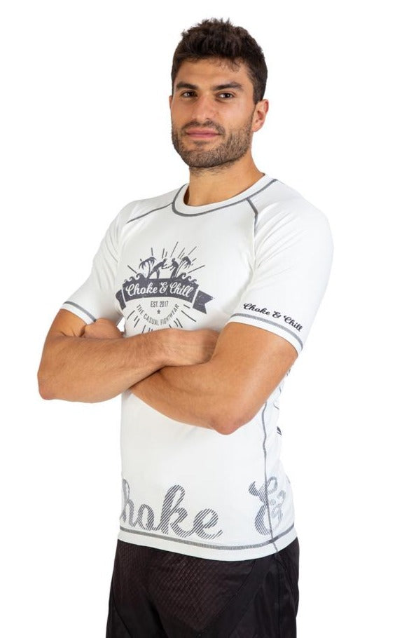 Choke&Chill Competition Rashguard - White - Short Sleeve