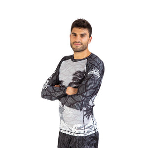 Rashguard men grey palms waves long sleeve fightwear training athlete fighter Streetwear BJJ No-Gi Grappling Brazilian Jiu Jitsu MMA Kampfsport Martial Arts