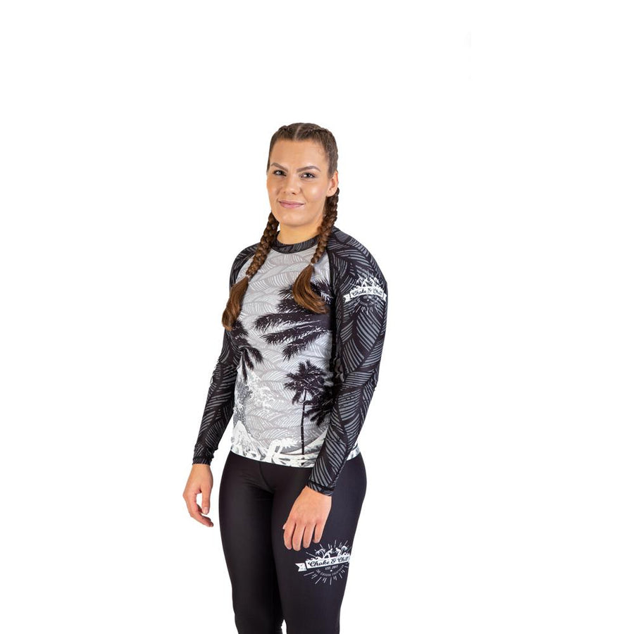 Rashguard women grey palms waves long sleeve fightwear training athlete fighter Streetwear BJJ No-Gi Grappling Brazilian Jiu Jitsu MMA Kampfsport Martial Arts