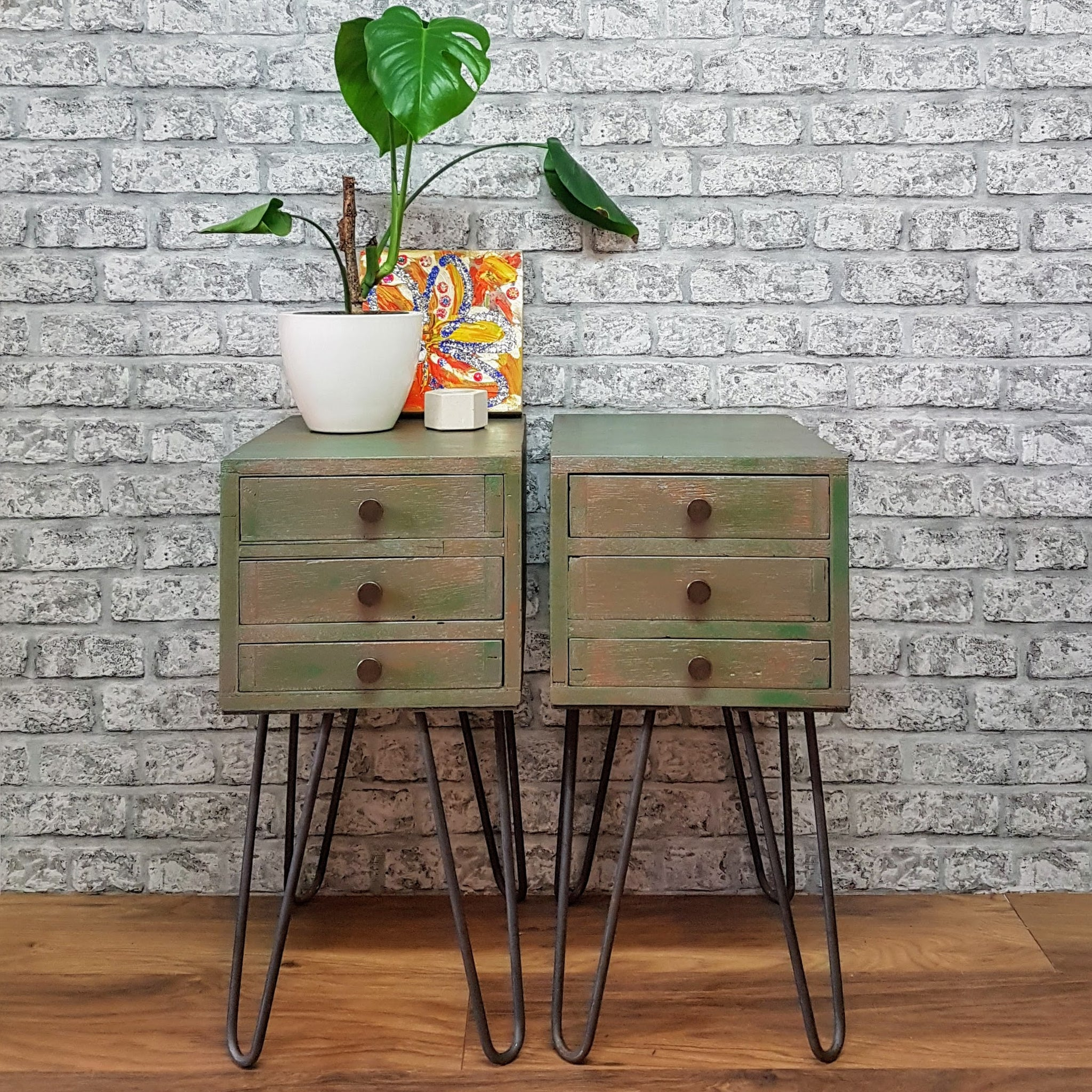 Pair of Professionally Upcycled Side Tables