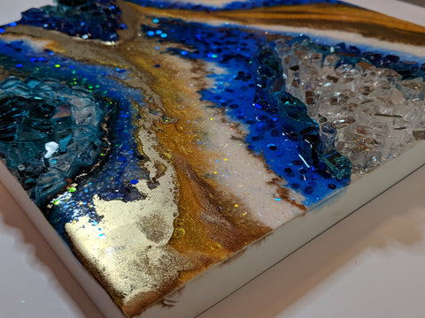 blue and gold geode