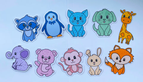 "the ""plushies"" collection featuring 10 animal stickers in cute pastel colors"