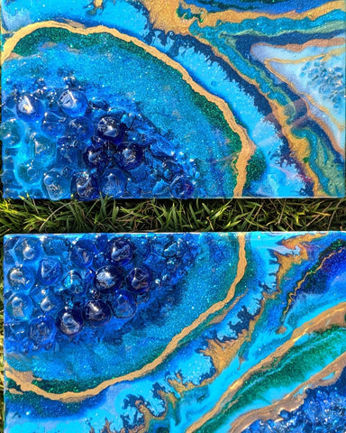 blue geode diptych with gold and green accents