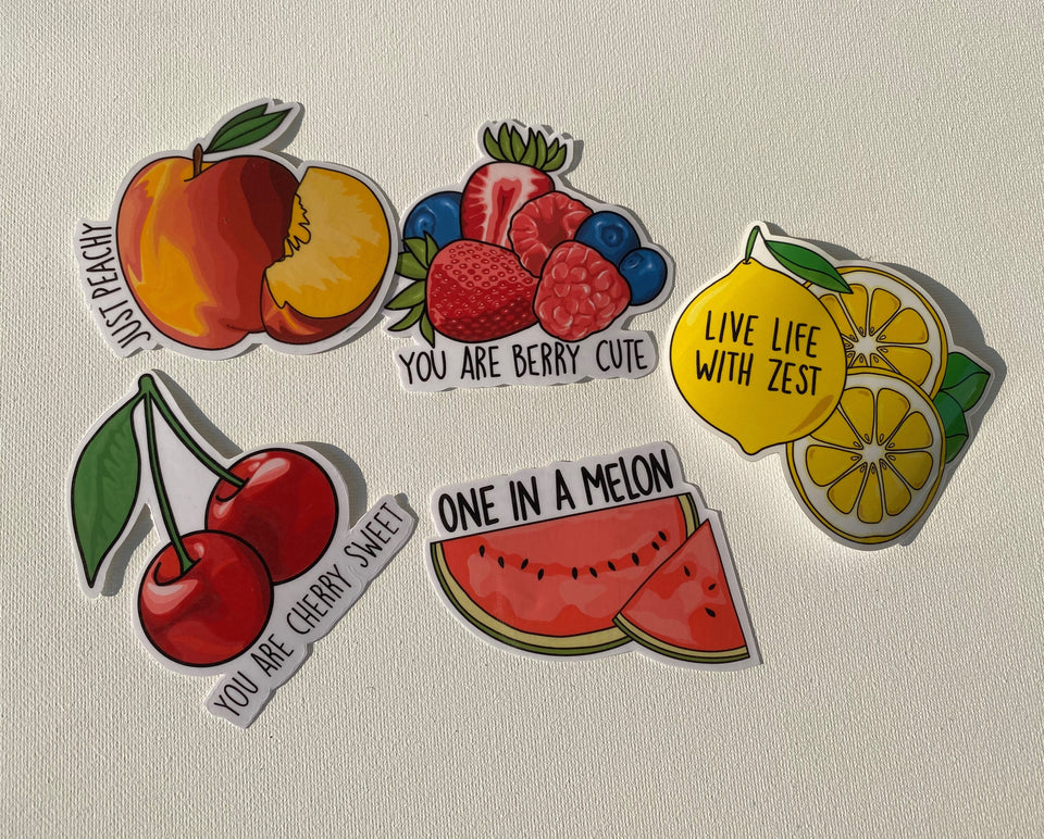 Our collection of fruit puns - just peachy, you are berry cute, live life with zest, you are cherry sweet, one in a melon.