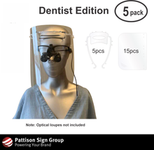 Load image into Gallery viewer, 5pack - Dentist Protective Face Shield