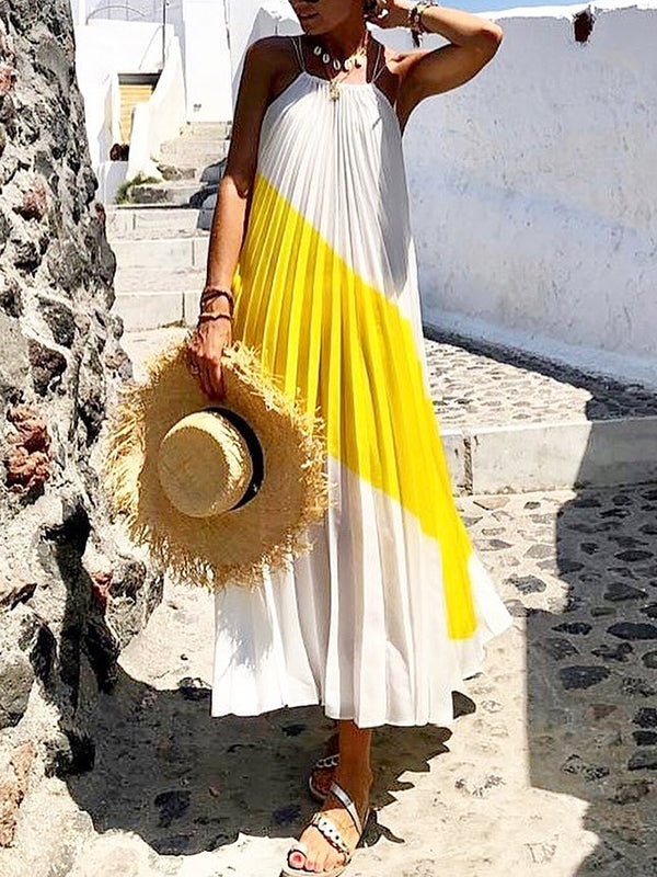 Summer Vacation Color Block Pleated Midi Dress